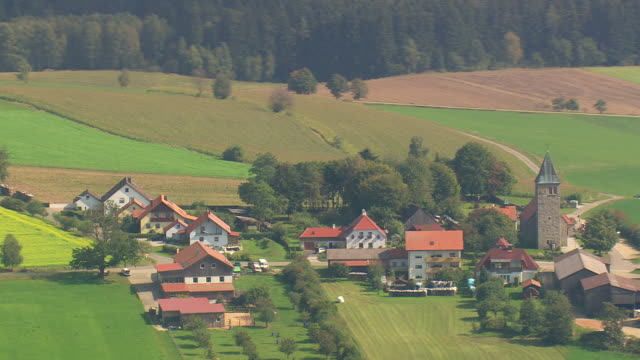 WS AERIAL View of farm field and villages / Germany