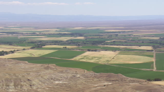 WS AERIAL PAN View of farm field, Worland / Wyoming, United States