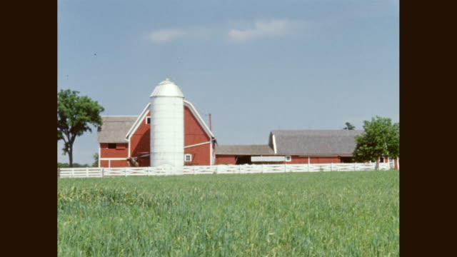 ws pan view of farmhouse and silo on field / united states - farmhouse stock videos & royalty-free footage