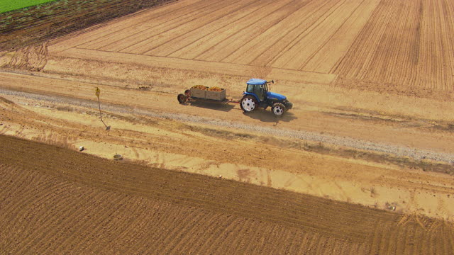 WS AERIAL View of farming and agriculture area wit tractor / Adelaide, South Australia, Australia