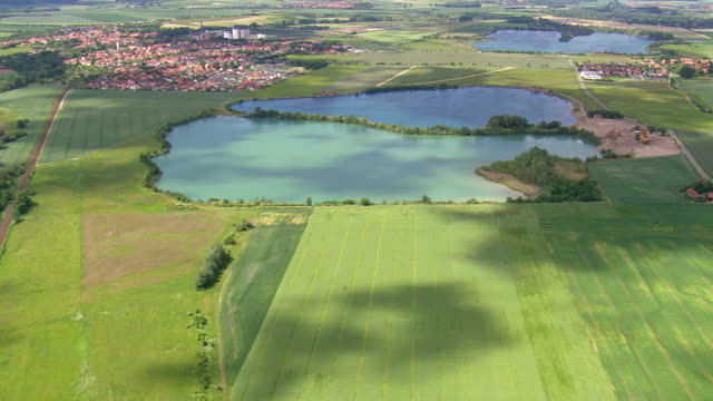 WS AERIAL View of farmland and small towns with ponds near town / Germany