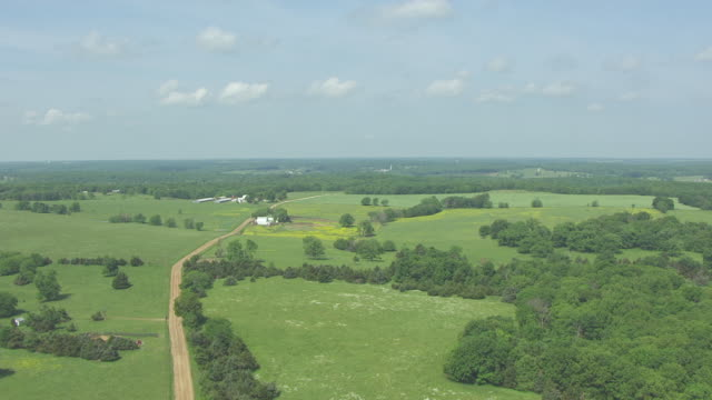 ws aerial td view of farmland in morgan county / missouri, united states - country road stock videos & royalty-free footage