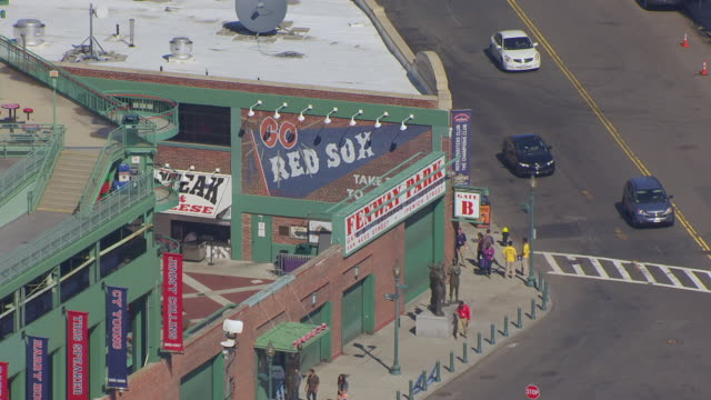 MS AERIAL POV View of Fenway park stadium with sign at Ipwich Streets / Boston, Massachusetts, United States