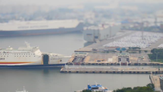 view of ferry approaching to incheon harbor (famous harbor in korea) - chiusa di fiume video stock e b–roll
