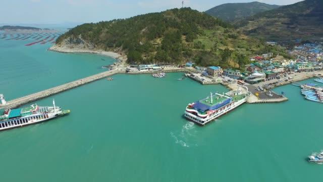 view of ferry boat and seascape in cheongsando island, jeollanam-do, south korea - jeollanam do stock videos & royalty-free footage
