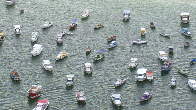 WS AERIAL View of ferry boat and yatch / Rio de Janeiro, Brazil