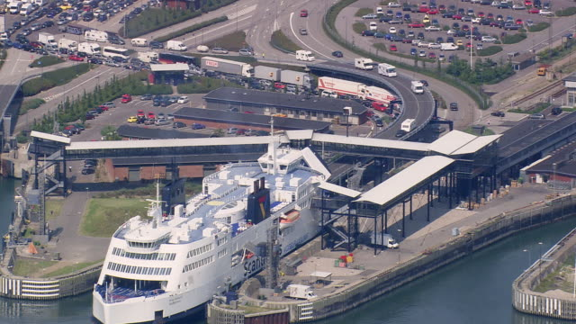 ws aerial zi view of ferry loading / lolland, denmark - ferry stock videos & royalty-free footage