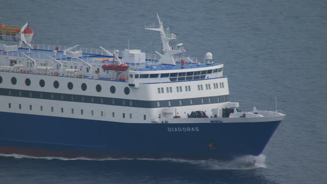 ms aerial view of ferry on open water / dodecanese, greece - passenger ship stock videos & royalty-free footage