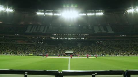 ws td view of field at soccer city during soccer match / johannesburg, gauteng, south africa - åskådare människoroller bildbanksvideor och videomaterial från bakom kulisserna