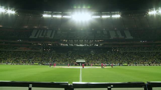 ws td view of field at soccer city during soccer match / johannesburg, gauteng, south africa - competizione video stock e b–roll