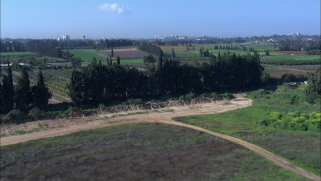 ws pov aerial view of fields in plain / sharon, israel - pianura video stock e b–roll