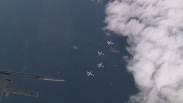 View of fighter planes flying over the cloud in South Korea