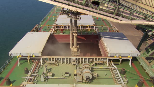 MS ZI ZO View of Filling wheat at machine in ship / Port Kembla, New South Wales, Australia