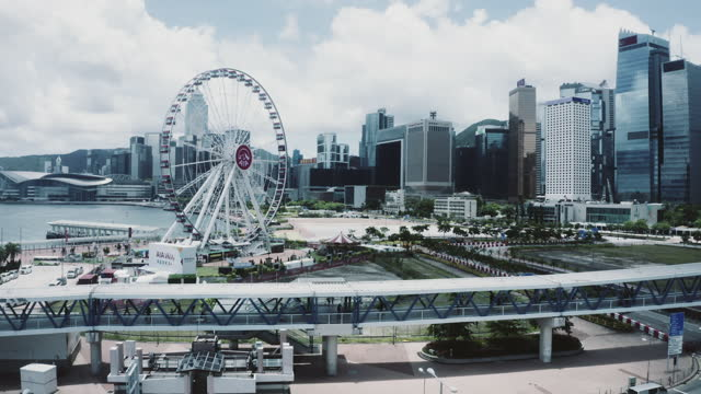 view of finance district, central, hong kong - star ferry stock videos & royalty-free footage
