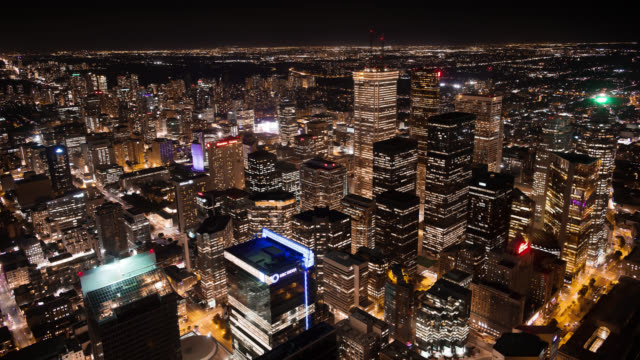 WS T/L View of Financial District at Night / Toronto, Ontario, Canada