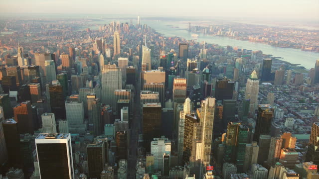 WS AERIAL POV View of financial district with cityscape / New York City, New York State, United States