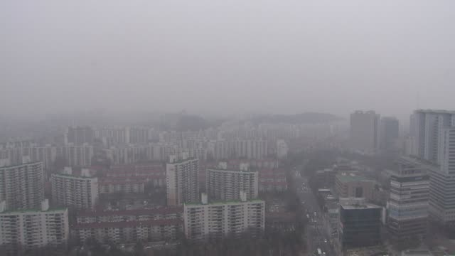 view of fine dust and cityscape in mok-dong, seoul, south korea - mok stock videos and b-roll footage