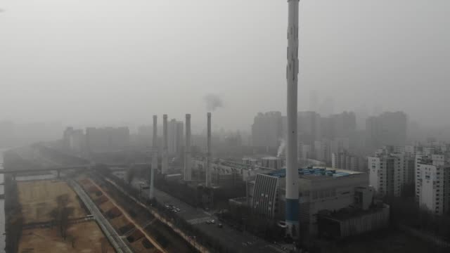 view of fine dust and cogeneration plant in mok-dong, seoul, south korea - mok stock videos and b-roll footage