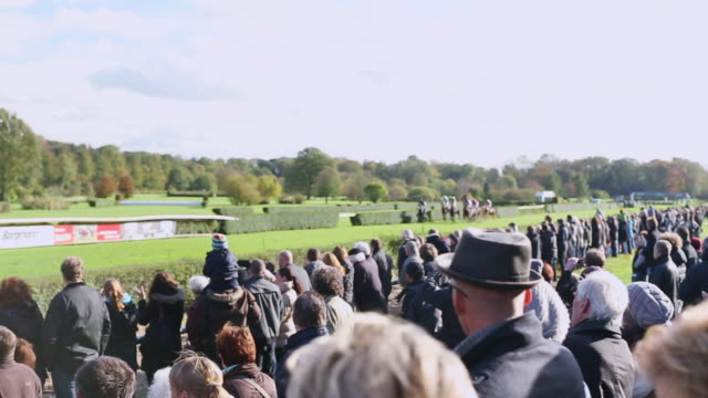 ws ts view of finish of a horse race / krefeld, north rhine westphalia, germany  - horse racing stock videos and b-roll footage