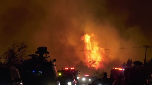 a view of fire near lake hughes california on august 13 2020 california authorities ordered the evacuation of 500 homes after a huge fire rapidly... - burning stock-videos und b-roll-filmmaterial