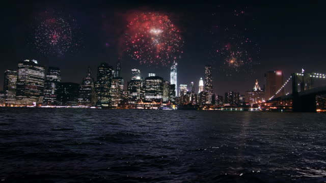 WS View of Fire work over New York sky line / New York, United States