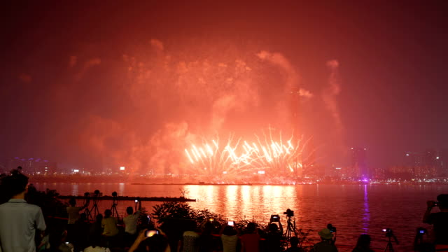 View of Firework Display in Han River (Yeouido Area) at night