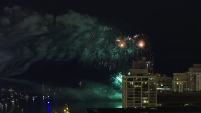 ws t/l view of fireworks display along chicago lakefront at night / chicago, illinois, usa  - 2k resolution stock videos and b-roll footage
