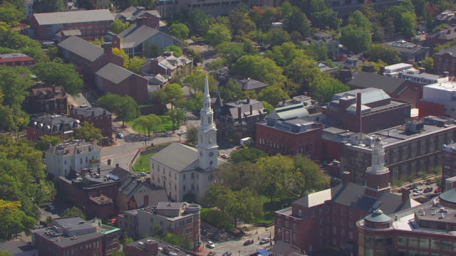 ws aerial pov view of first baptist church in america with cityscape/ providence, rhode island, united states - baptist stock videos & royalty-free footage