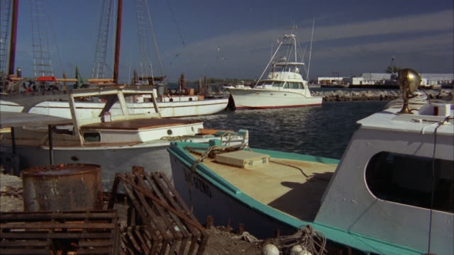 ms zi view of fishing boats fixed on harbor - 1972 stock videos and b-roll footage