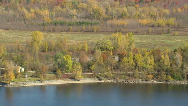MS AERIAL View of Fisk Quarry / Vermont, United States