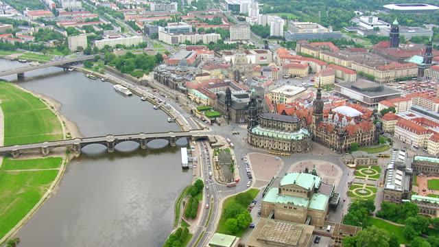 ws aerial zi view of fkatholische hofkirche church / dresden, saxony, germany - hofkirche stock videos & royalty-free footage