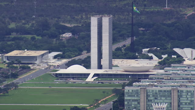 WS AERIAL View of flag moving on wind / Brasilia, Brazil