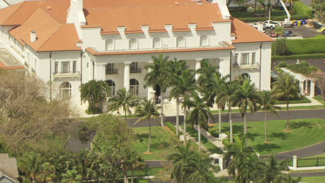 MS AERIAL ZO View of Flagler Museum / Palm Beach, Florida, United States