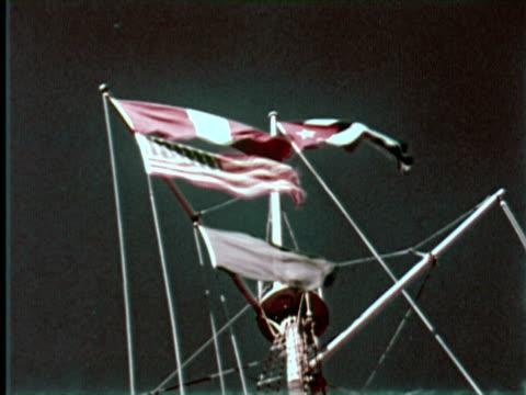 vidéos et rushes de ms  view of flags and light house   audio / havana, cuba - 1959