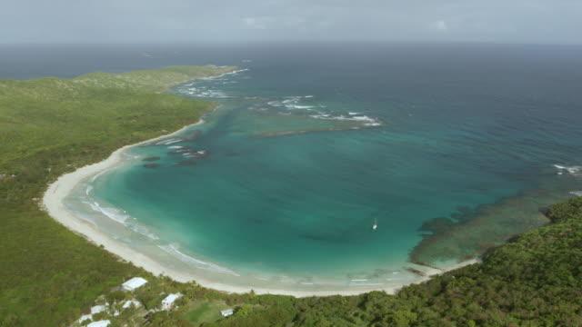 ws aerial pov view of flamenco beach with seascape / culebra, puerto rico, united states - flamenco stock videos and b-roll footage