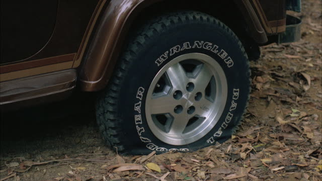 MS View of flat tire of jeep wrangler