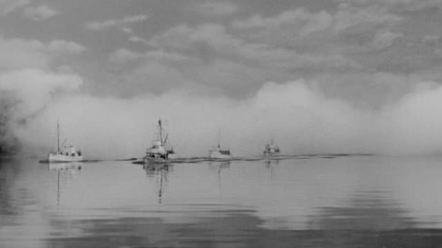 WS PAN View of fleet of large four fishing boats in ocean