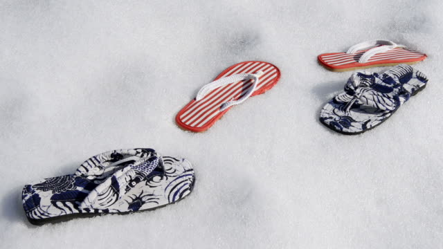 ms view of flip flop sandals in snow / landshut, bavaria, germany - flip flop stock videos and b-roll footage