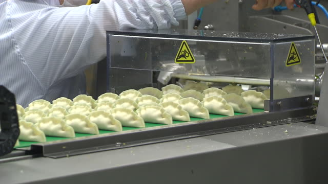 View of flipping the organized dumplings on a conveyor