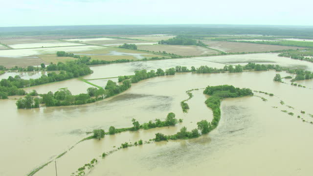 WS AERIAL TD View of flooded river and agriculture fields in Quitman Tallahatchie County / Mississippi, United States