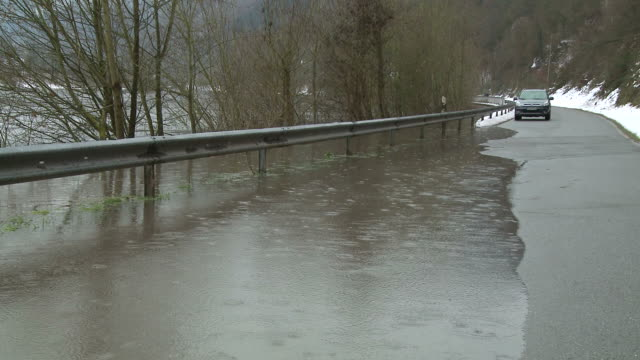 WS View of floodwater at saar river  /  Kastel-Staadt, Rhineland-Palatinate, Germany