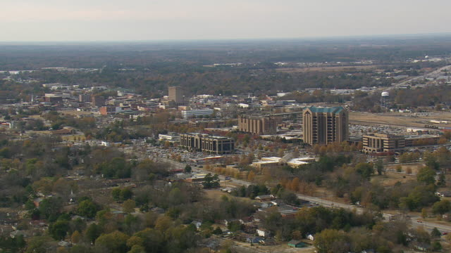 WS AERIAL View of Florence city / South Carolina, United States