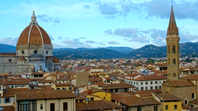 view of florence cityscape and duomo santa maria del fiore - duomo santa maria del fiore stock videos and b-roll footage