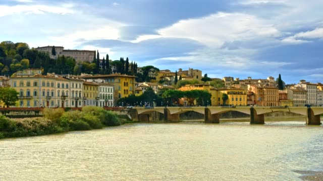 view of florence cityscape over arno river - florence stock videos and b-roll footage