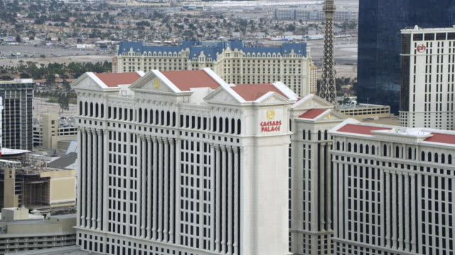 ws aerial view of fly over ceasars palace / las vegas, nevada, united states - caesars palace las vegas stock videos & royalty-free footage