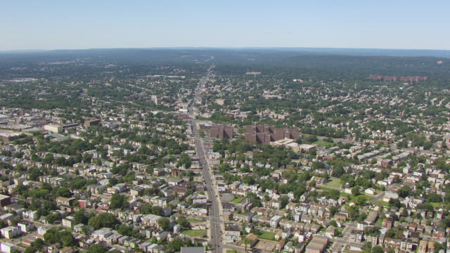 WS AERIAL View of flying over Springfield avenue / Newark, New Jersey, United States