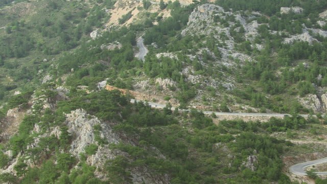 WS AERIAL TS View of following long street / Karpathos, Dodecanese, Greece