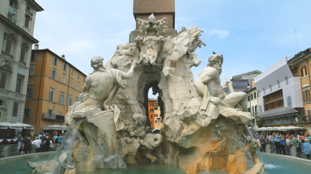 view of fontana dei fiumi in piazza navona - rome italy stock videos & royalty-free footage