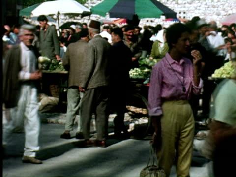 MS View of food market , Belgrade, Yugoslavia / AUDIO