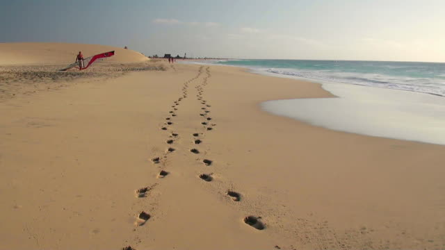 MS View of Foot print on sand in front of dune at beach near Santa Maria / Santa Maria, Sal, Cape Verde